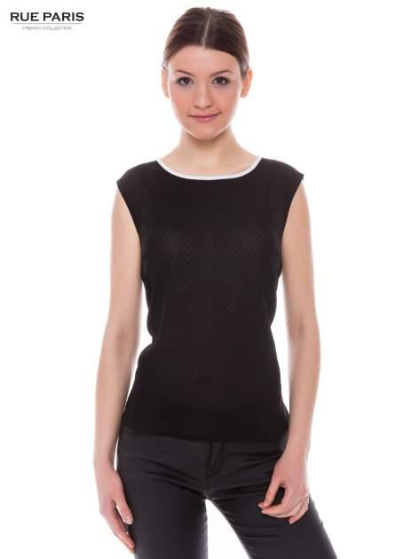 Czarna koszula w kropki z kontrastową lamówką                                  zdj.                                  1