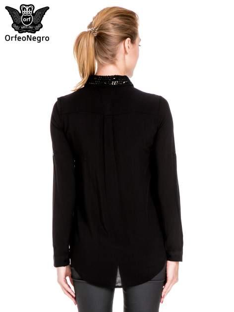 Czarna koszula z biżuteryjnym kołnierzykiem                                  zdj.                                  2