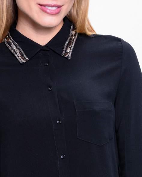 Czarna koszula z bizuteryjnym kołnierzykiem z cekinami                                  zdj.                                  7