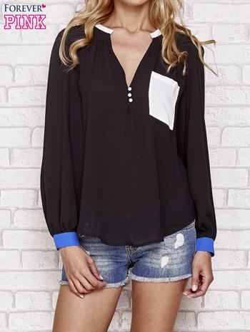 Czarna koszula z kontrastową kieszenią i mankietami                                  zdj.                                  1