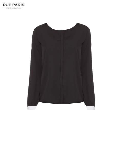 Czarna koszula z kontrastową lamówką przy dekolcie i mankietami                                  zdj.                                  5