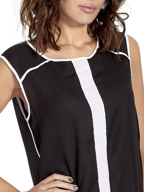 Czarna koszula z kontrastowymi przeszyciami                                  zdj.                                  5