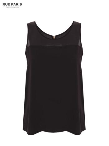 Czarna koszula z łączonych materiałów z suwakiem z tyłu