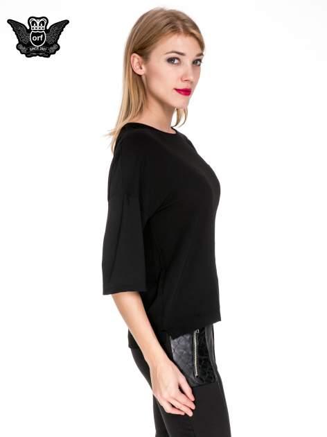 Czarna koszula z obniżoną linią ramion i kieszonką                                  zdj.                                  3