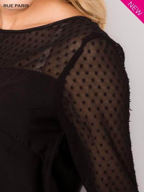 Czarna koszula z przezroczystym materiałem w groszki                                  zdj.                                  4