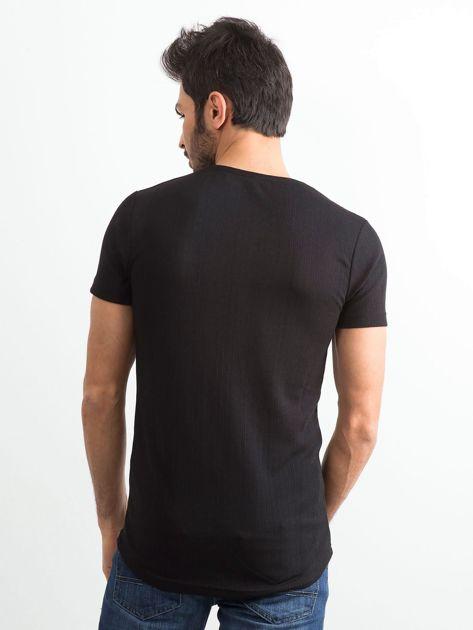 Czarna koszulka męska z napisem                              zdj.                              2