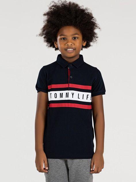 Czarna koszulka polo dla chłopca TOMMY LIFE