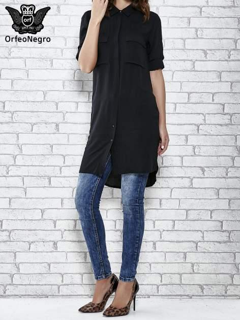 Czarna koszulotunika z kieszonkami                                  zdj.                                  2
