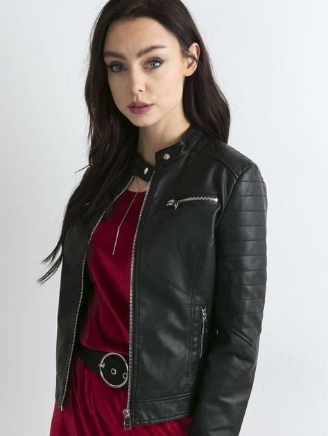 Czarna kurtka damska biker w motocyklowym stylu                               zdj.                              5