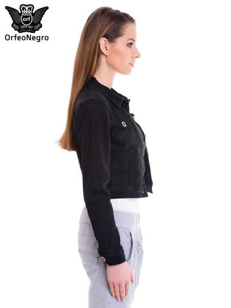 Czarna kurtka jeansowa damska z ozdobnymi guzikami                                  zdj.                                  3