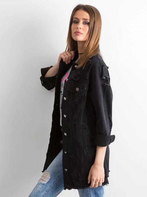 Czarna kurtka jeansowa z przetarciami                              zdj.                              3