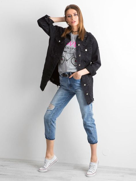 Czarna kurtka jeansowa z przetarciami                              zdj.                              4