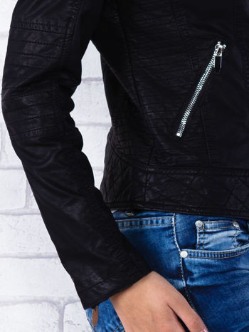 Czarna kurtka ramoneska z pikowaniem                                  zdj.                                  6