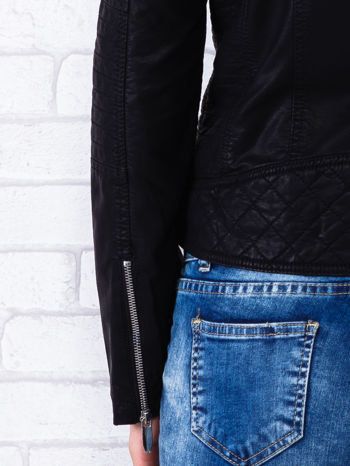 Czarna kurtka ramoneska z pikowaniem                                  zdj.                                  7