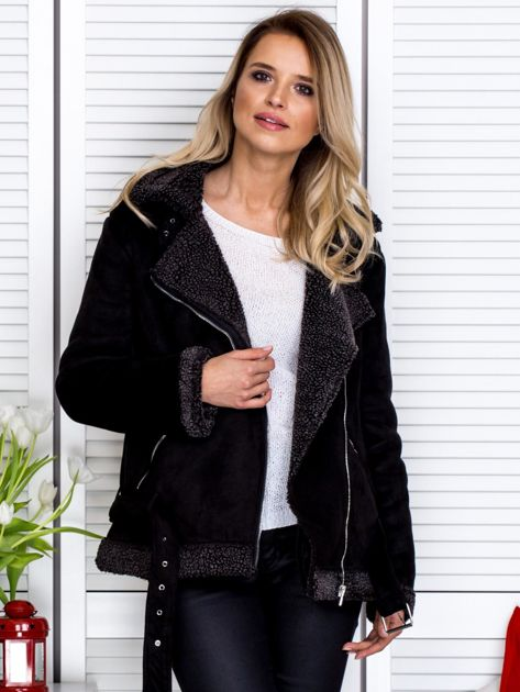 Czarna kurtka z kożuszkiem                               zdj.                              6