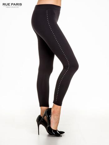 Czarna legginsy z dżetami wzdłuż nogawki                                  zdj.                                  3