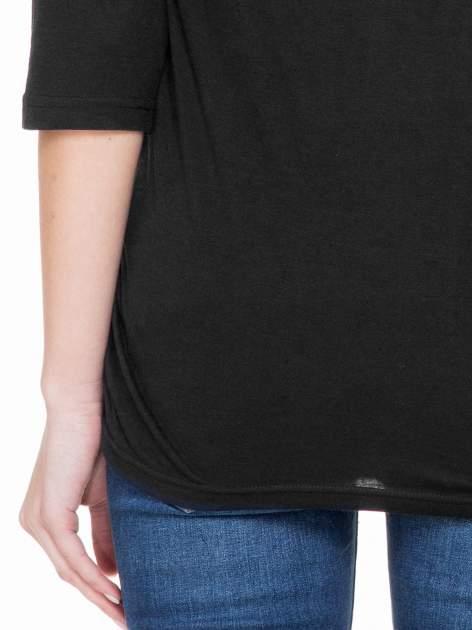 Czarna luźna bluzka z rękawem 3/4                                  zdj.                                  6