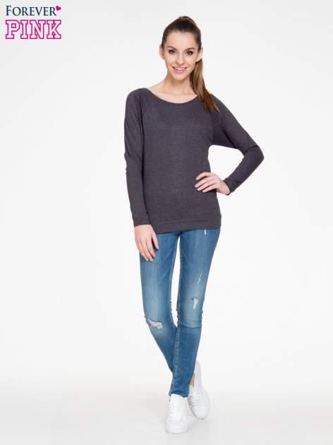 Czarna melanżowa bawełniana bluzka z rękawami typu reglan                                  zdj.                                  2
