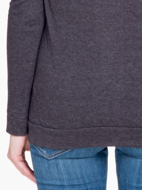 Czarna melanżowa bawełniana bluzka z rękawami typu reglan                                  zdj.                                  8
