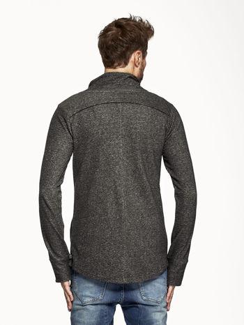 Czarna melanżowa bluza męska z ukośnym zapięciem                                  zdj.                                  2