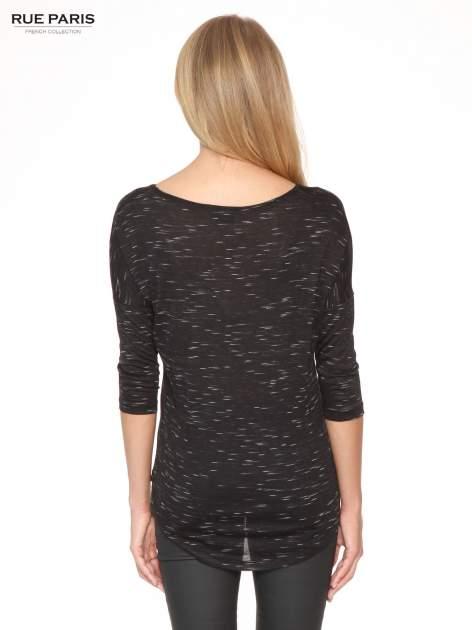 Czarna melanżowa bluzka o obniżonej linii ramion                                  zdj.                                  4