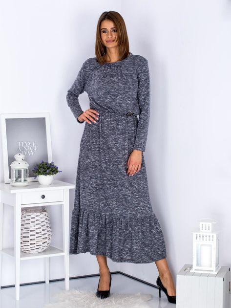 Czarna melanżowa sukienka maxi z falbaną                              zdj.                              1