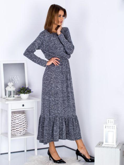 Czarna melanżowa sukienka maxi z falbaną                              zdj.                              5
