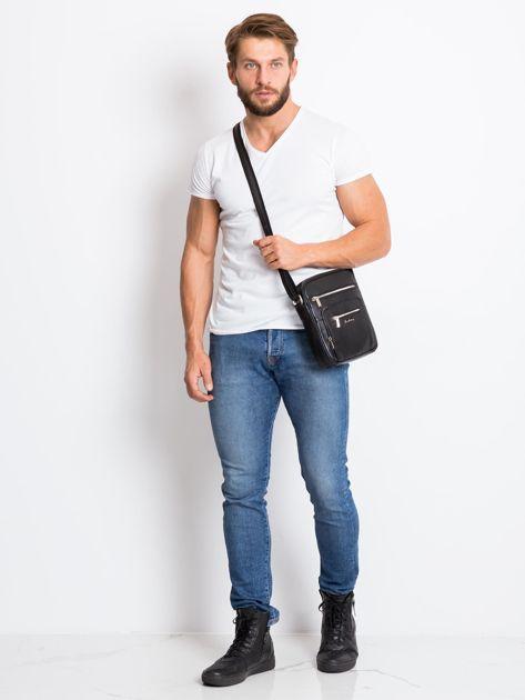Czarna męska torba z kieszeniami                              zdj.                              4