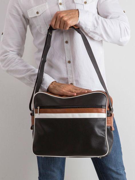 Czarna męska torba ze skóry ekologicznej                              zdj.                              1