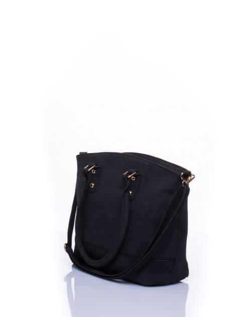 Czarna miejska torba z czarną lamówką                                  zdj.                                  5