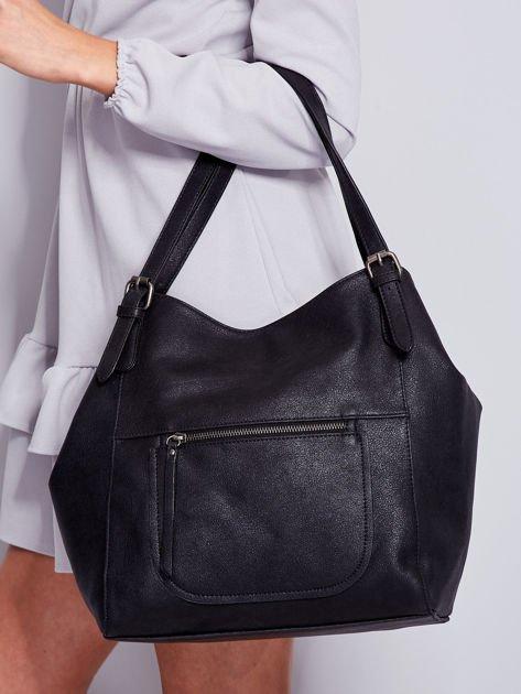 dc30a3e8ed0d5 Czarna miękka torba z kieszeniami - Akcesoria torba - sklep eButik.pl