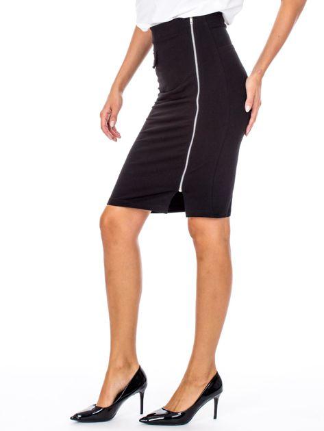Czarna ołówkowa spódnica z suwakiem                               zdj.                              3
