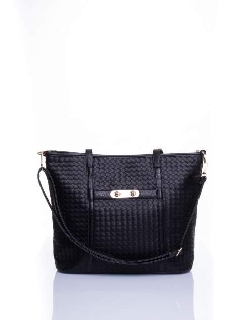 Czarna pleciona torba shopper bag ze złotym detalem                                  zdj.                                  1