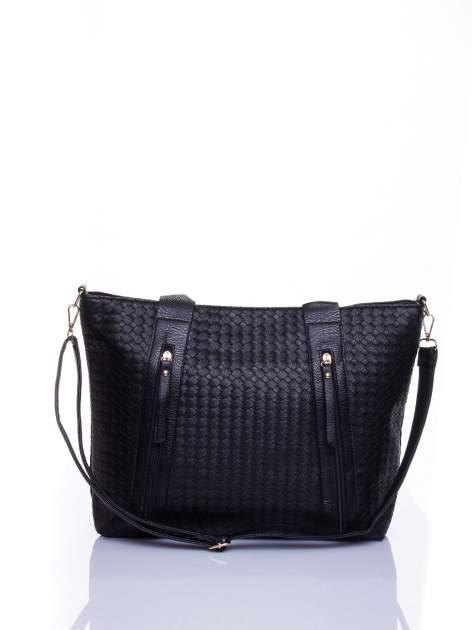Czarna pleciona torebka z suwakami                                  zdj.                                  1