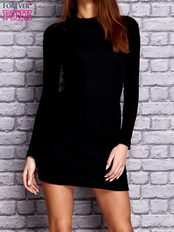 Czarna prążkowana sukienka                                  zdj.                                  1