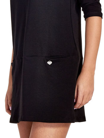 Czarna prosta sukienka z kieszeniami                                   zdj.                                  6