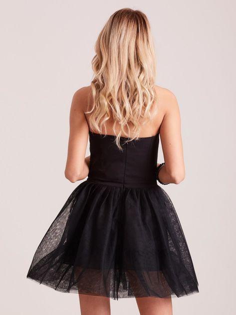 Czarna rozkloszowana sukienka gorsetowa                               zdj.                              1