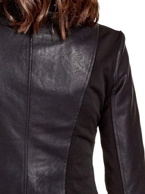 Czarna skórzana kurtka z żabotem                                  zdj.                                  6