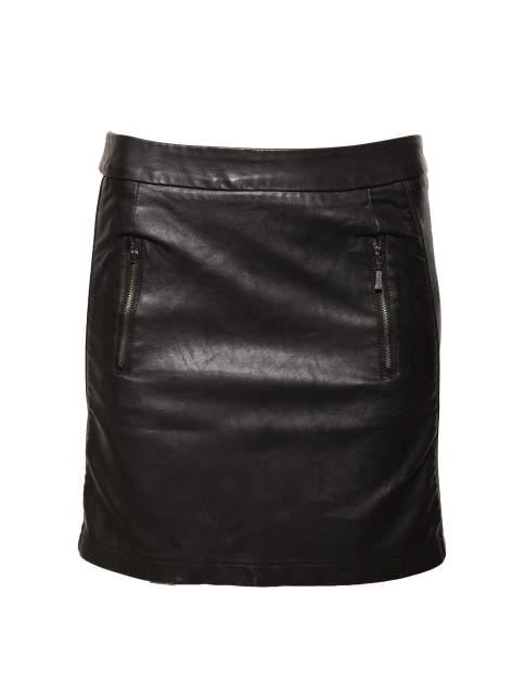 Czarna skórzana spódnica mini z kieszeniami