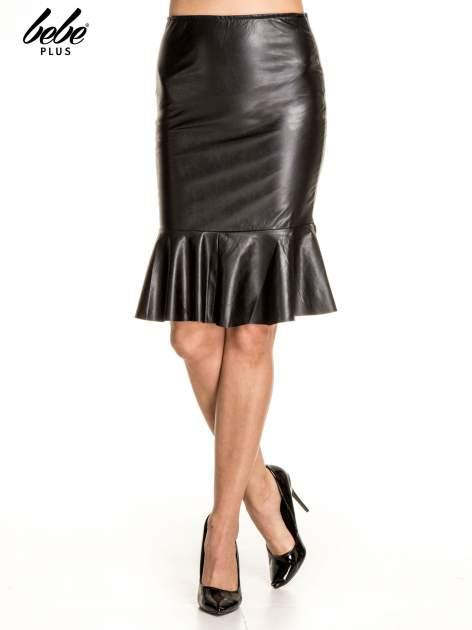 Czarna skórzana spódnica z falbaną                                  zdj.                                  1