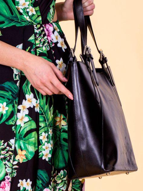 Czarna skórzana torba shopper bag                              zdj.                              2