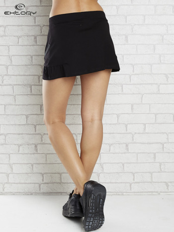 Czarna spódnica dresowa z falbanką i troczkiem                                  zdj.                                  2