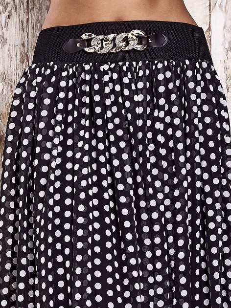 Czarna spódnica maxi w grochy z ozdobnym pasem                                  zdj.                                  6