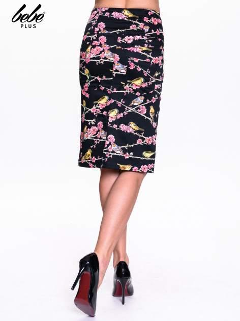 Czarna spódnica midi w ptaszki                                  zdj.                                  4