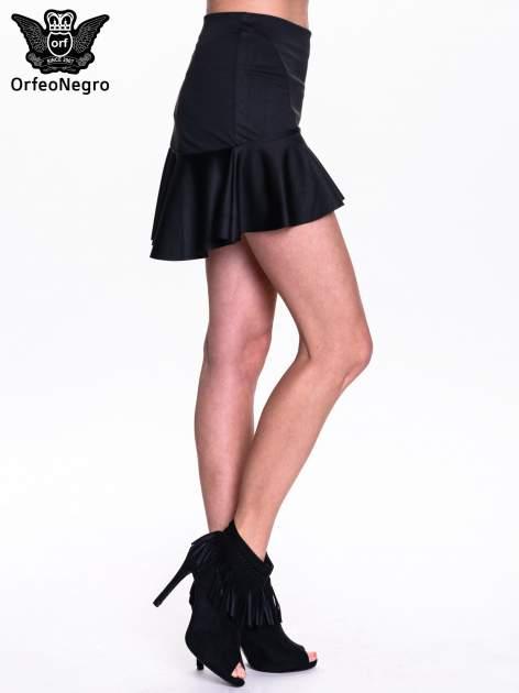 Czarna spódnica mini z falbanką                                  zdj.                                  3