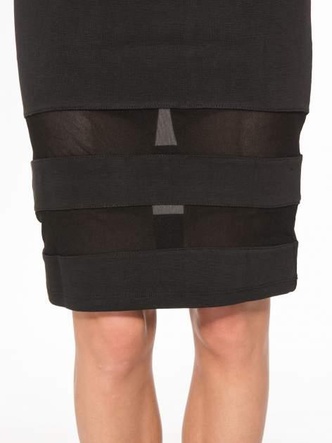 Czarna spódnica tuba z transparentnymi panelami                                  zdj.                                  8