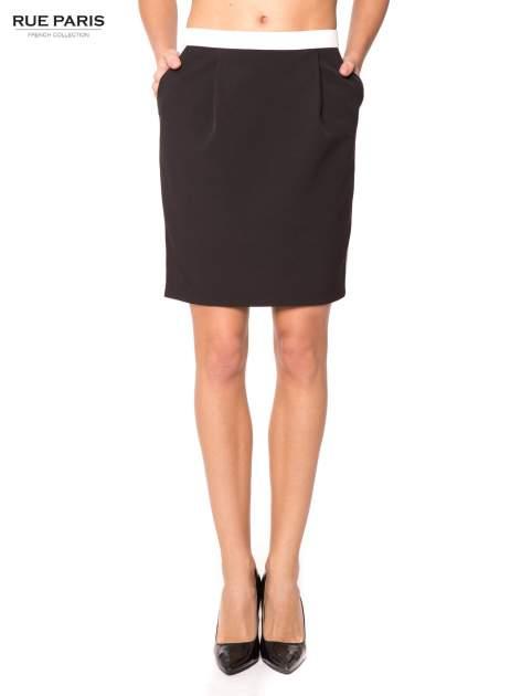Czarna spódnica two tone z kontrastowymi białymi pasami                                  zdj.                                  1