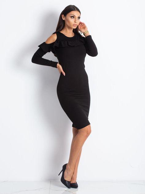 Czarna sukienka cut out z falbaną                              zdj.                              5