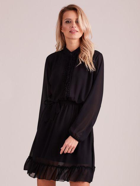 Czarna sukienka damska z falbankami                              zdj.                              1