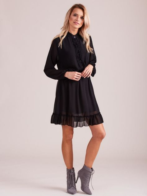Czarna sukienka damska z falbankami                              zdj.                              4